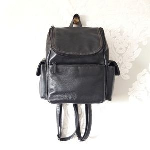 Vintage 90's Black Leather Mini Zip Backpack